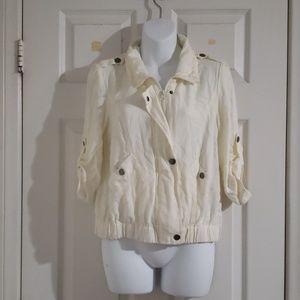 Thin off white jacket.  Size M
